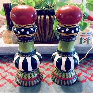 Hand painted large whimsical salt & pepper mills